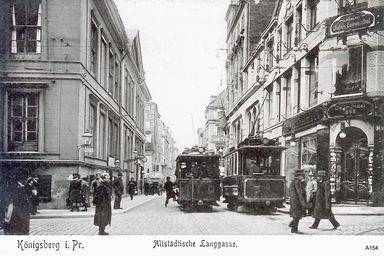 Königsberg, Altstädtische Langgasse mit elektrischer Straßenbahn