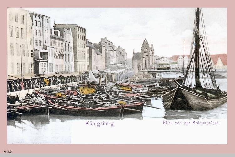 Königsberg, Blick von der Krämerbrücke (coloriert)