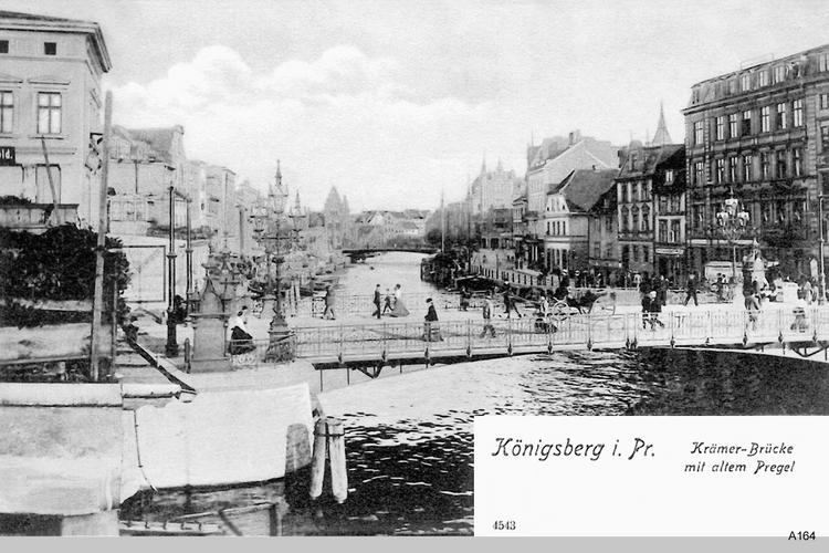 Königsberg, Krämerbrücke mit altem Pregel
