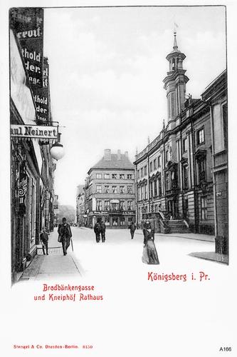 Königsberg, Brodbänkengasse und Kneiphöf Rathaus