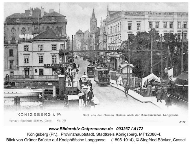 Königsberg, Blick von Grüner Brücke auf Kneiphöfsche Langgasse