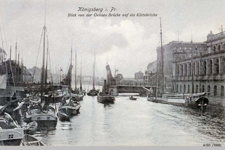 Königsberg, Blick von der Grünen Brücke auf die Köttelbrücke, rechts die Börse
