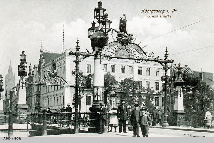 Königsberg, Grüne Brücke und Hotel Deutscher Hof