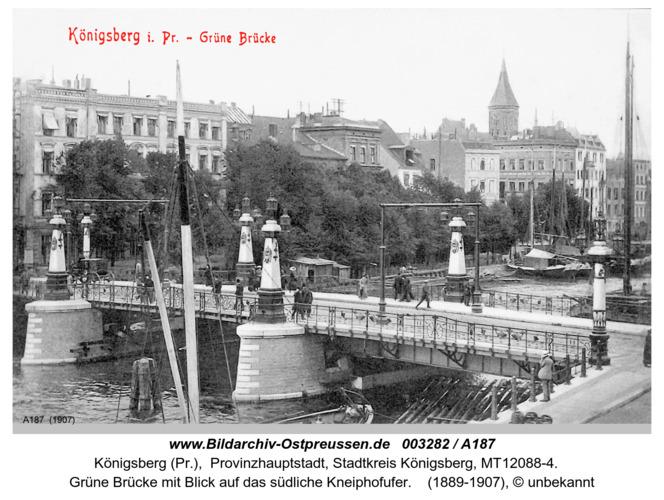 Königsberg, Grüne Brücke mit Domturm