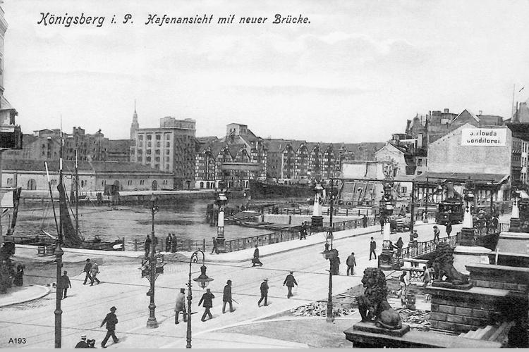 Königsberg, Kneiph. Langgasse, Hafenansicht mit Grüner Brücke