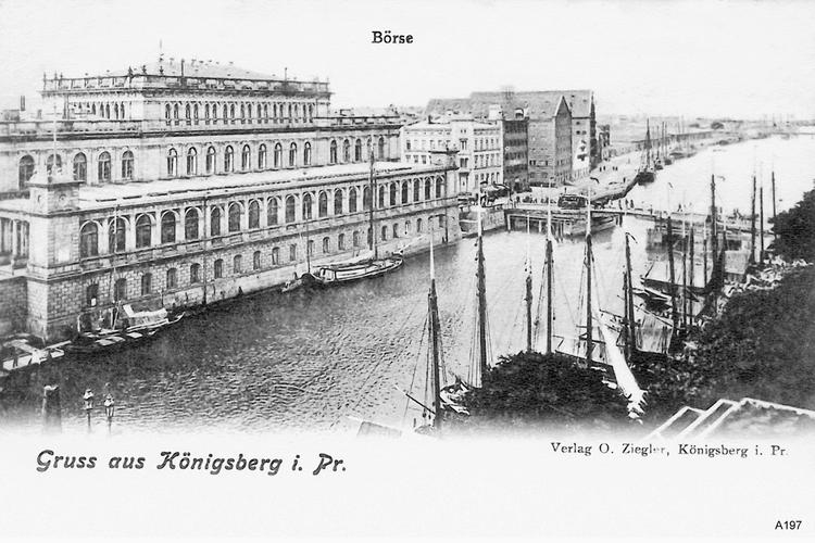 Königsberg, Börse und Blick auf Pregel