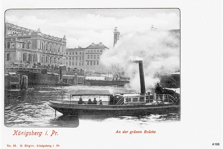 Königsberg, Dampfschiff an der Grünen Brücke