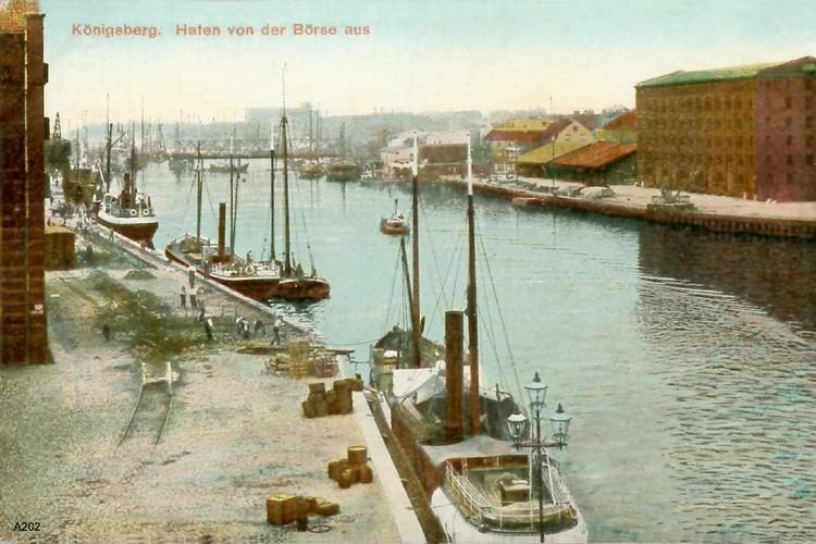 Königsberg, Hafen von der Börse aus (coloriert)
