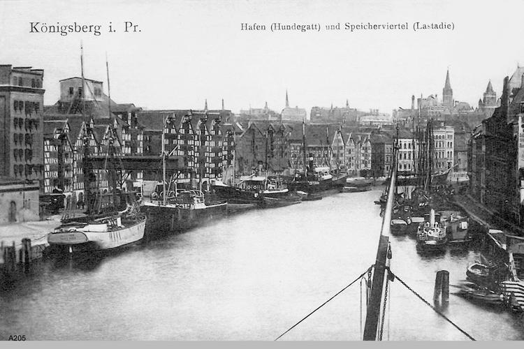Königsberg, Hafen (Hundegatt) und Speicherstadt (Lastadie)