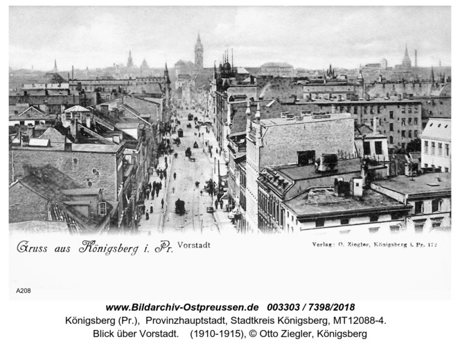 Königsberg, Blick über Vorstadt