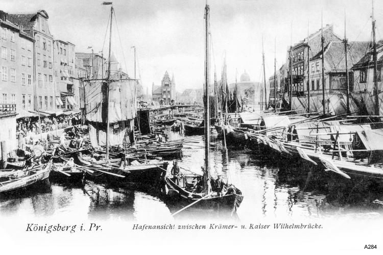 Königsberg, Hafenansicht zwischen Krämer- und Kaiser Wilhelm Brücke