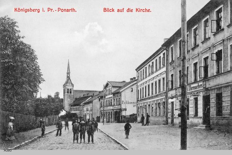 Königsberg, Ponarth mit Blick auf Kirche