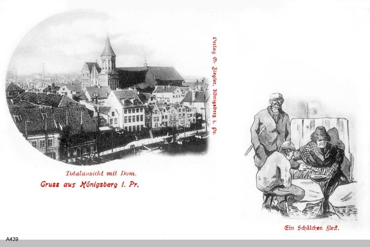 Königsberg, Blick auf den Dom und Graphik