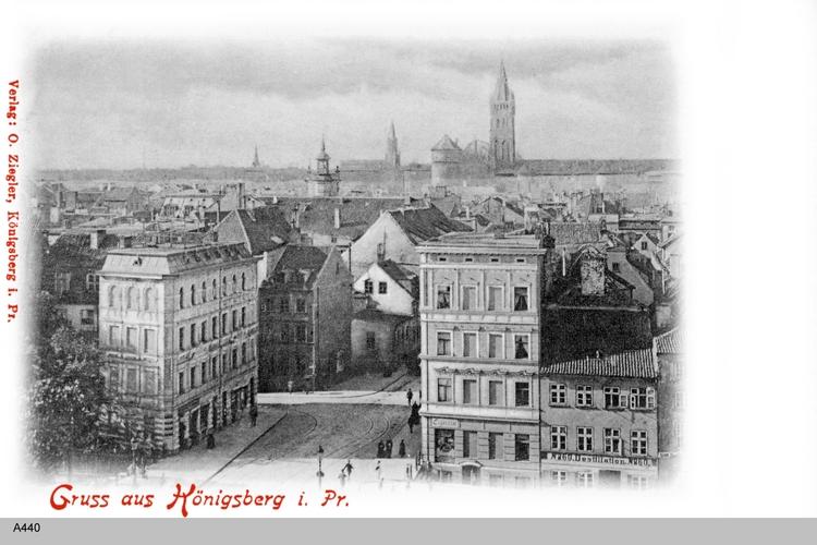 Königsberg, Blick auf Schmiedestraße und Schloß