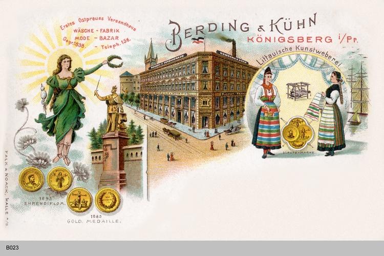 Königsberg, Schmuckkarte Versandhaus Berding und Kühn