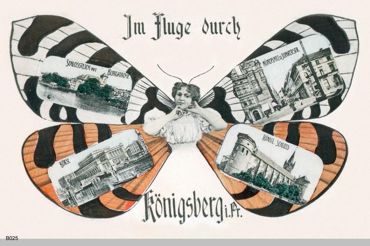 """Königsberg, Zierkarte, """"Im Fluge durch Königsberg"""""""