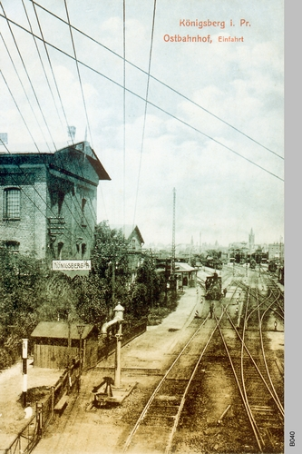 Königsberg, Ostbahnhof Einfahrt