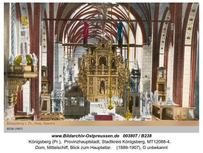 Königsberg, Dom Innenaufnahme coloriert