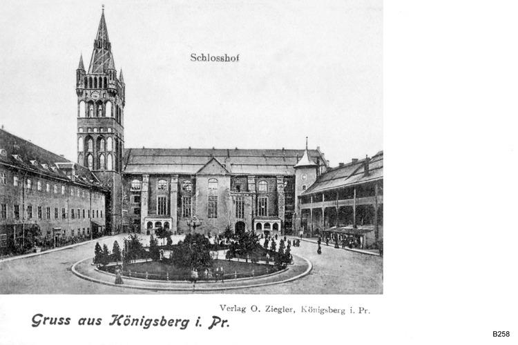 Königsberg, Innerer Schloßhof mit Schloßkirche und Blutgericht