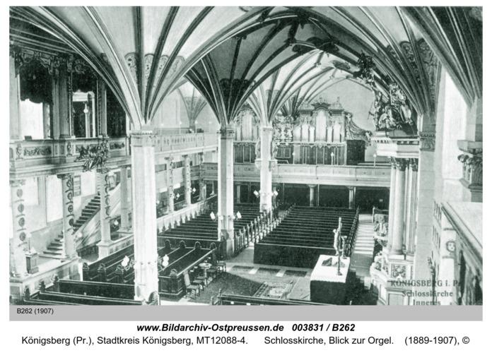 Königsberg, Schlosskirche, Blick zur Orgel