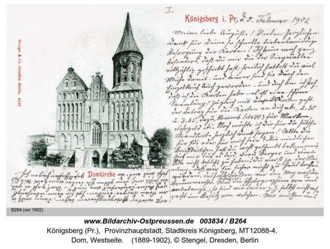 Königsberg, Dom (Karte von vorn beschrieben.)