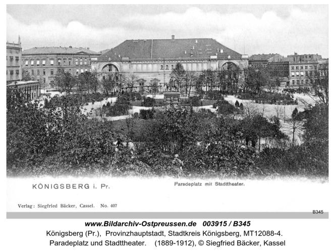 Königsberg, Paradeplatz und Stadttheater