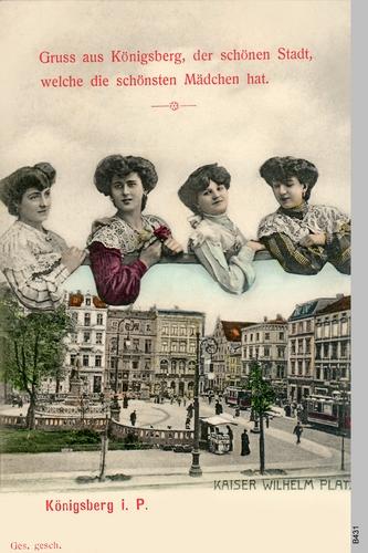 Königsberg, Kaiser Wilhelm Platz, Kunstpostkarte