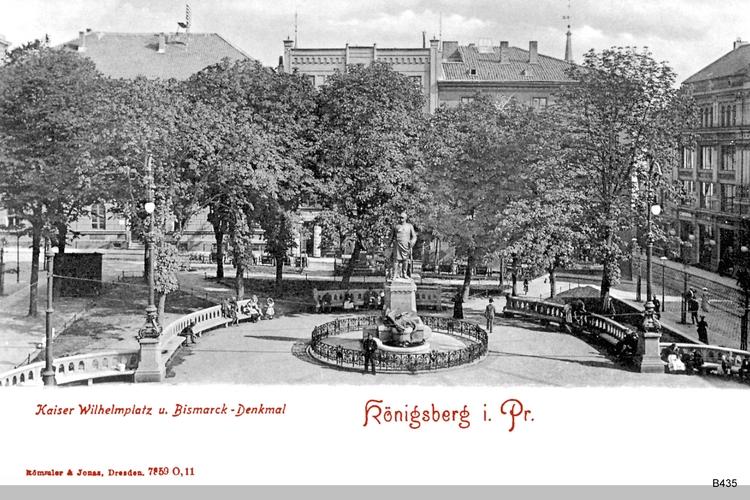 Königsberg, Kaiser Wilhelm Platz mit Bismarckdenkmal