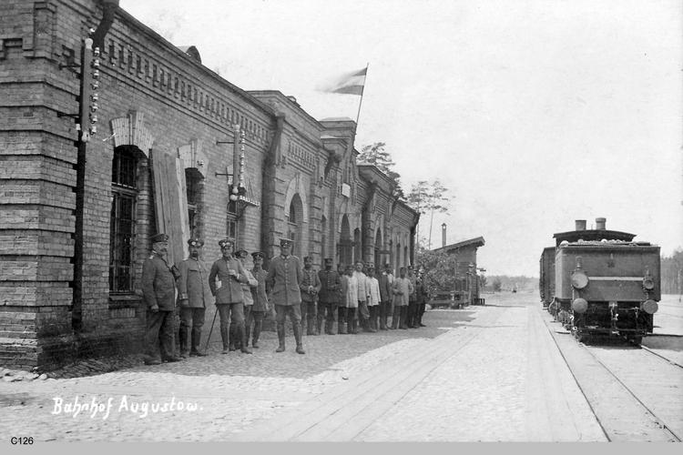 Augustów, 1 WK, besetzter Bahnhof
