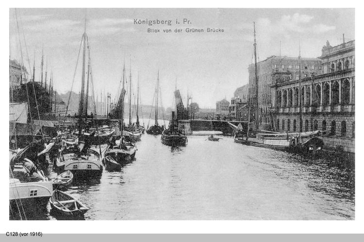Königsberg, Börse und Pregel von der Grünen Brücke