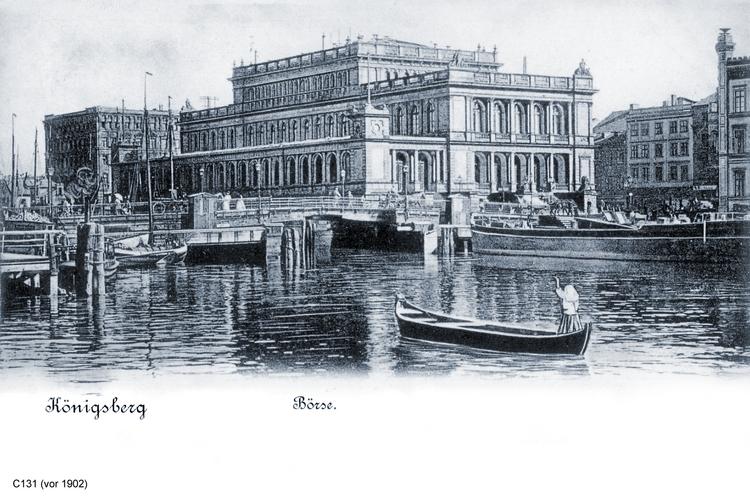 Königsberg, Börse, Pregel und Boot