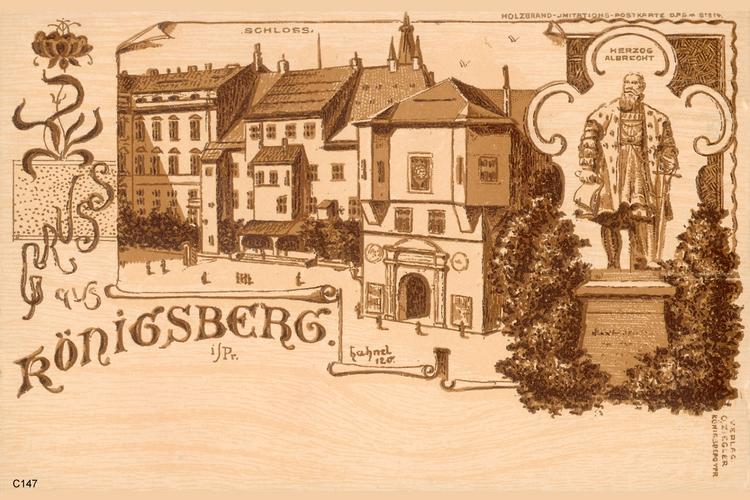 Königsberg, Schlosswache und Herzog-Albrecht-Denkmal