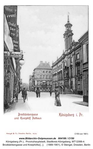 Königsberg, Brodbänkengasse und Kneiphofsches Rathaus