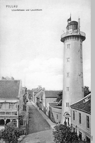 Pillau, Seestadt, Leuchtturm und Lizentraße