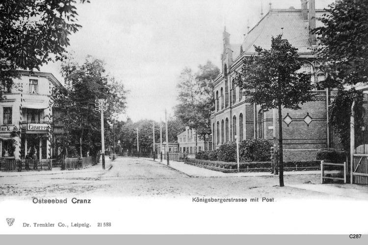 Cranz, Königsberger Straße mit Post