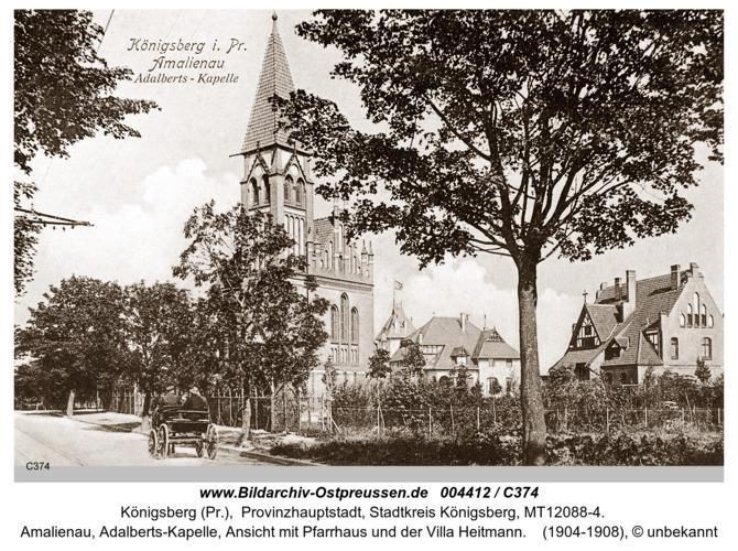 Königsberg, Amalienau, Adalbert- Kapelle, Ansicht mit Pfarrhaus und der Villa Heitmann