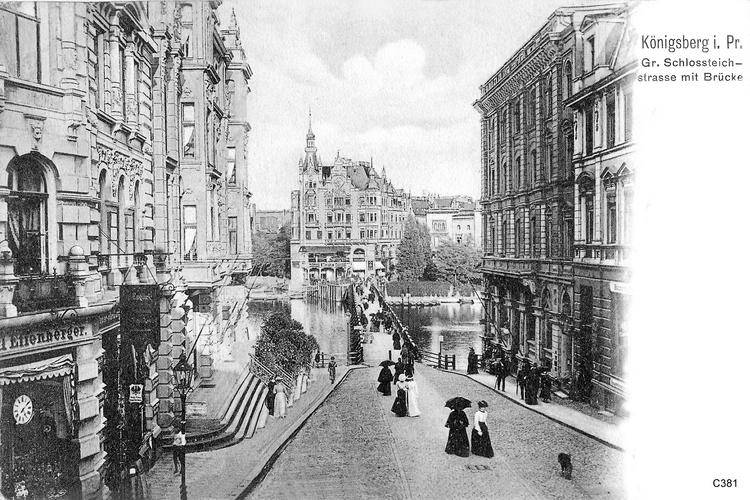 Königsberg, Schloßteichstraße mit Brücke
