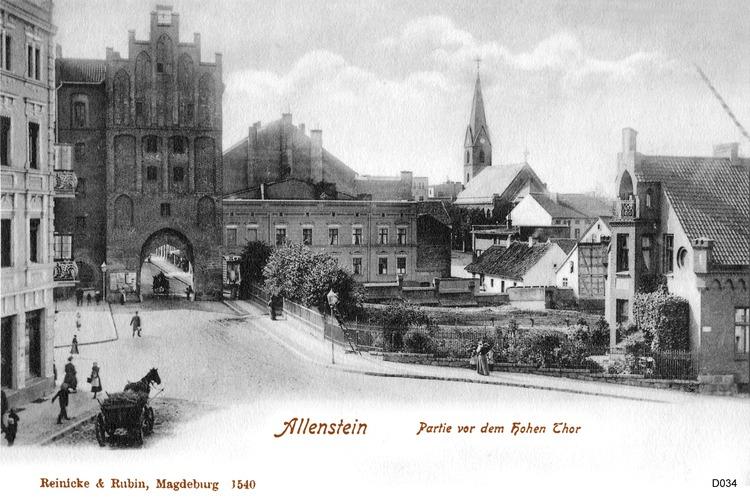 Allenstein, Hohes Tor und Evangelische Kirche