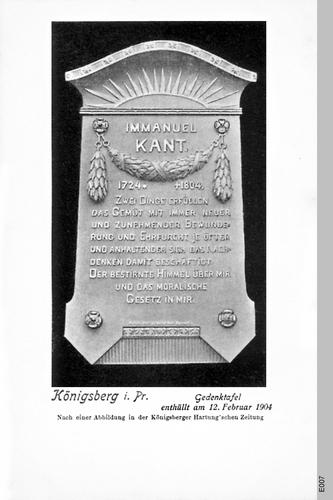 Königsberg, Kantgedenktafel