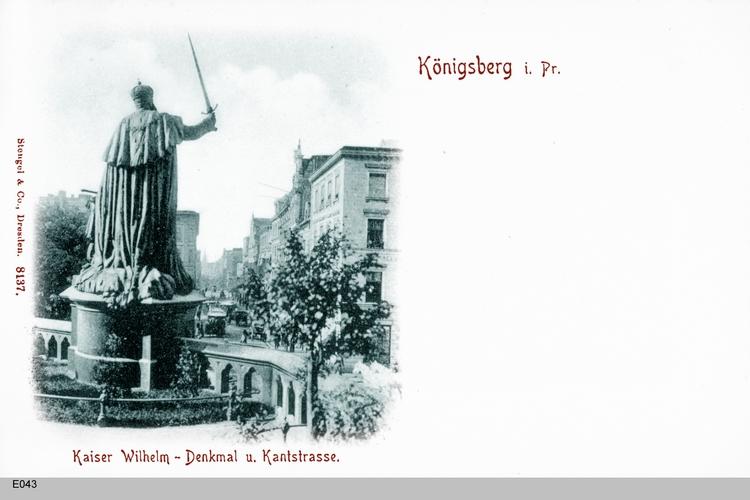 Königsberg, Kaiser Wilhelm Denkmal mit Blick in die Kantstraße