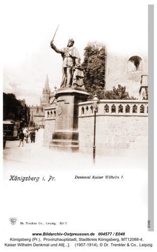 Königsberg, Kaiser Wilhelm Denkmal und Altstädtischer Kirchturm im Hintergrund