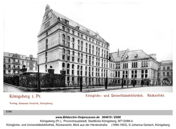 Königsberg, Königliche- und Universitätsbibliothek, Rückansicht