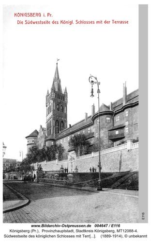 Königsberg, Südwestseite des königlichen Schlosses mit Terrassen