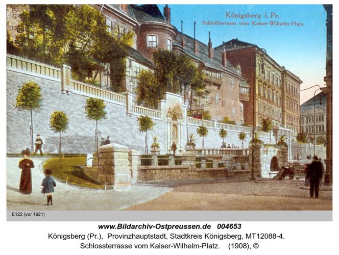 Königsberg, Schloßterrasse vom Kaiser Wilhelm Platz (coloriert)