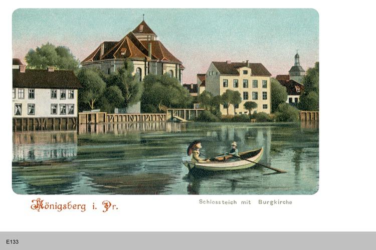 Königsberg, Schlossteich mit Burgkirche coloriert