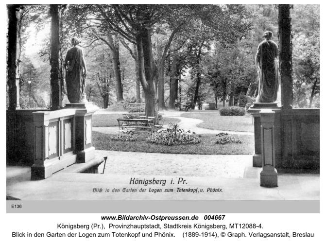 Königsberg, Blick in den Garten der Logen zum Totenkopf und Phönix