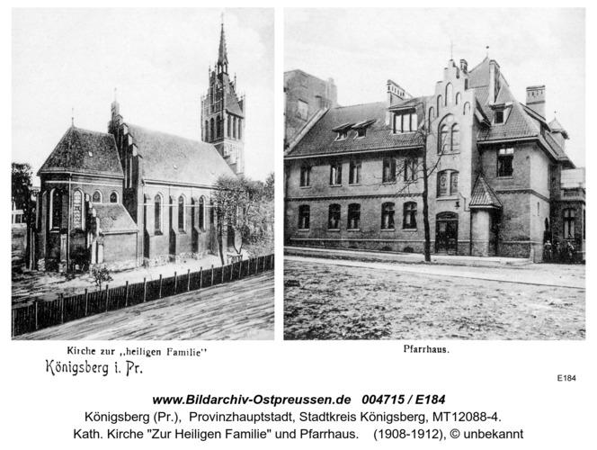 Königsberg, Kirche zur Heiligen Familie und Pfarrhaus