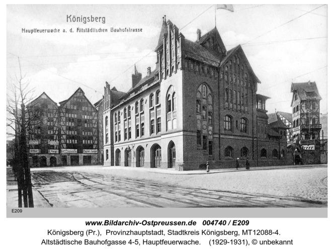 Königsberg, Hauptfeuerwache an der Altstädtischen Bauhofstraße