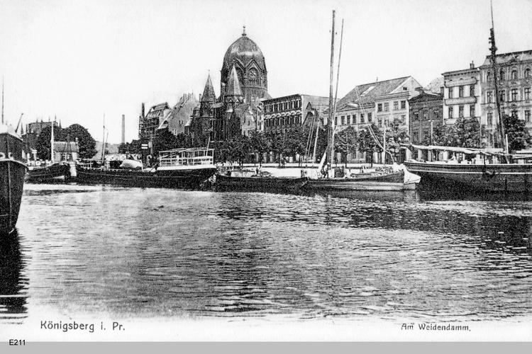 Königsberg, Weidendamm mit Synagoge