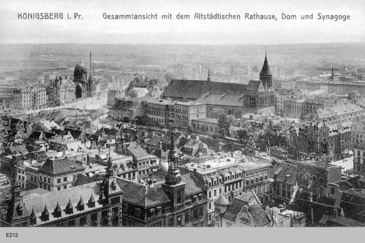 Königsberg, Gesamtansicht mit dem Altstädtischen Rathaus, Dom und Synagoge